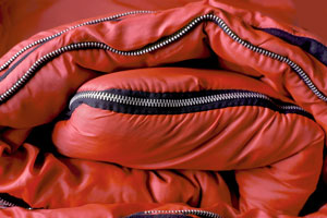 sleeping bag with red nylon shell
